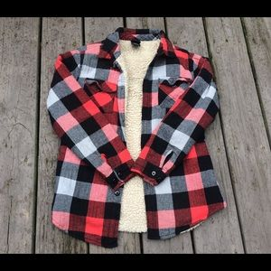 🌿Buffalo Plaid Grunge Sherpa Flannel Jacket